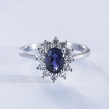 Sterling silver ring with sapphire and CZ stones - Sapphire rings