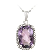 AMETHYST PENDANT WITH DIAMOND - AMETHYST PENDANTS - PENDANTS