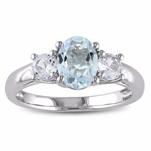AQUAMARINE RING WITH WHITE SAPPHIRES, SILVER - AQUAMARINE RINGS - RINGS