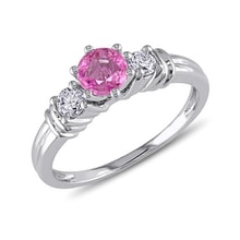 Engagement ring with pink sapphire and diamonds - Engagement rings with gemstones