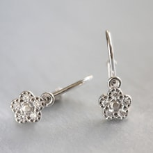 Children flower earrings - White gold earrings