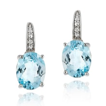 EARRINGS WITH BLUE TOPAZ AND DIAMONDS - TOPAZ EARRINGS - EARRINGS