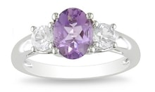 AMETHYST RING WITH WHITE SAPPHIRES - AMETHYST RINGS - RINGS