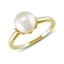 Gold ring with Akoya pearl - Pearl rings