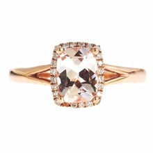 GOLD RING WITH DIAMONDS AND MORGANITE - HALO ENGAGEMENT RINGS - ENGAGEMENT RINGS WITH GEMSTONES