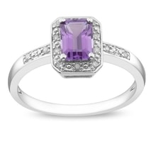 RING WITH AMETHYST AND DIAMONDS, SILVER - AMETHYST RINGS - RINGS