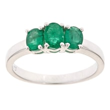 SILVER RING WITH THREE EMERALDS - ENGAGEMENT RINGS WITH GEMSTONES