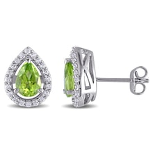 EARRINGS WITH SYNTHETIC SAPPHIRE AND PERIDOT - PERIDOT EARRINGS - EARRINGS
