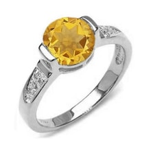 GOLD RING WITH CITRINE AND DIAMONDS - ENGAGEMENT RINGS WITH GEMSTONES