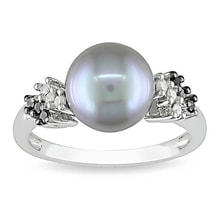 PEARL RING WITH DIAMONDS - PEARL RINGS - PEARLS