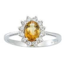 SILVER RING WITH CITRINE AND CZ - CITRINE RINGS - RINGS