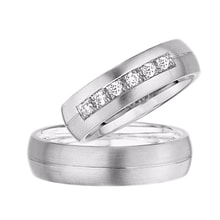 WEDDING RING WITH 3 DIAMONDS IN WHITE GOLD - DIAMOND WEDDING RINGS - WEDDING RINGS