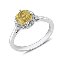 STERLING SILVER RING WITH CITRINE AND DIAMONDS - HALO ENGAGEMENT RINGS - ENGAGEMENT RINGS
