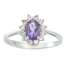 SILVER RING WITH AMETHYST AND CZ - HALO ENGAGEMENT RINGS - ENGAGEMENT RINGS WITH GEMSTONES