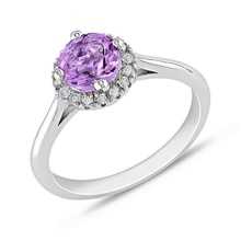 GOLD RING WITH AMETHYST AND DIAMONDS - HALO ENGAGEMENT RINGS - ENGAGEMENT RINGS