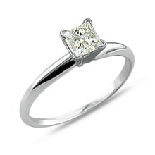 Gold engagement ring with diamond princess - White gold rings