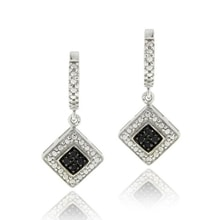 SILVER EARRINGS WITH BLACK DIAMONDS - DIAMOND EARRINGS - EARRINGS