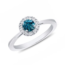 Gold ring, blue and white diamonds - Engagement rings with fancy diamands