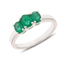 STERLING SILVER RING WITH THREE EMERALDS - ENGAGEMENT RINGS WITH GEMSTONES - ENGAGEMENT RINGS