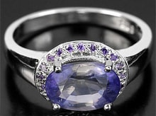 SILVER RING WITH AMETHYSTS AND IOLIT - JEWELLERY SALE