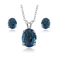 SILVER SET LONDON TOPAZ - TOPAZ PENDANTS - PENDANTS
