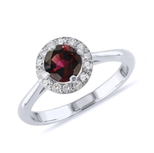 Garnet and diamond ring in sterling silver - Engagement Halo Rings