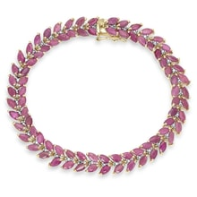 GOLD PLATED BRACELET WITH RUBY ​​DIAMOND - SILVER BRACELETS - JEWELLERY BY GEMSTONE