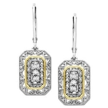 TWO-TONE EARRINGS WITH DIAMONDS - DIAMOND EARRINGS - EARRINGS