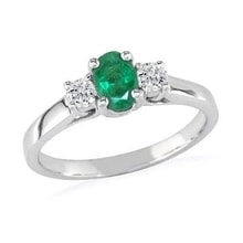 RING WITH EMERALDS AND DIAMONDS, 14K WHITE GOLD - ENGAGEMENT RINGS WITH GEMSTONES