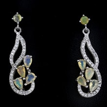 Opal andvCZ earrings in silver - Fine Jewellery