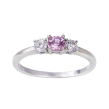 RING WITH PINK SAPPHIRE AND DIAMONDS - SAPPHIRE RINGS - RINGS