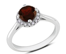 GOLD RING WITH GARNET AND DIAMONDS - WHITE GOLD JEWELLERY - JEWELLERY BY GEMSTONE