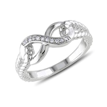 Diamond infinity ring in sterling silver - Sterling Silver Rings