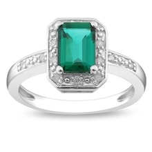 SILVER RING WITH EMERALD AND DIAMONDS - EMERALD RINGS - RINGS