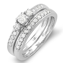 DIAMOND WEDDING AND ENGAGEMENT RING - WHITE GOLD RINGS - RINGS