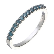 SILVER RING WITH BLUE DIAMONDS - DIAMOND RINGS - RINGS