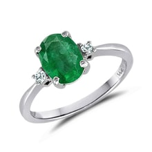 Ring with emeralds and diamonds, 14K White Gold - Emerald rings