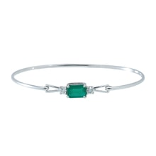 Gold bracelet with emerald and diamonds - Women's Bracelets