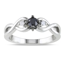 SILVER RING WITH BLACK AND TWO WHITE DIAMONDS - DIAMOND RINGS - RINGS