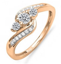 DIAMOND ENGAGEMENT RING OF PINK GOLD - DIAMOND RINGS - RINGS