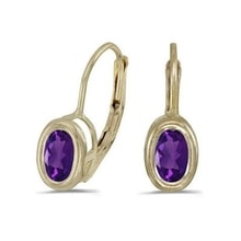 YELLOW GOLD EARRINGS WITH AMETHYSTS - AMETHYST EARRINGS - EARRINGS