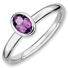 SILVER RING WITH AMETHYST - AMETHYST RINGS - RINGS
