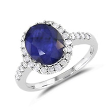 SAPPHIRE RING IN WHITE GOLD WITH 28 DIAMONDS - HALO ENGAGEMENT RINGS - ENGAGEMENT RINGS