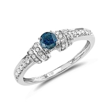 Engagement ring with blue diamond in white gold - Engagement rings with fancy diamonds