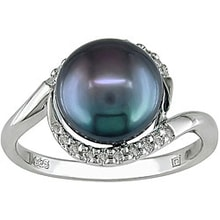 SILVER RING WITH BLACK PEARL - PEARL RINGS - PEARLS