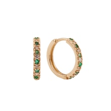 Gold earrings with diamonds and emeralds - Emerald Earrings