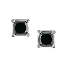 Gold black diamond earrings, 1ct - White gold earrings