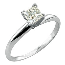 GOLD ENGAGEMENT RING WITH DIAMOND PRINCESS - WHITE GOLD RINGS - RINGS