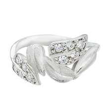 STERLING SILVER RING LEAVES WITH CZ - JEWELLERY SALE