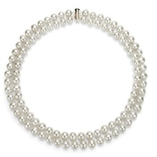 DOUBLE-ROW PEARL NECKLACE - PEARL NECKLACE - PEARLS